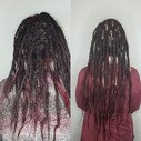 Before and after dreadlock maintenance and extenders on this lovely lady! Sylvia has wante