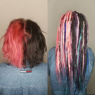 Before and after synthetic dreadlock installation! I have been wanting to make my own mult