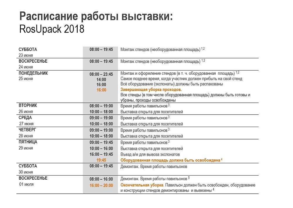 Расписание работы выставки RosUpack 2018