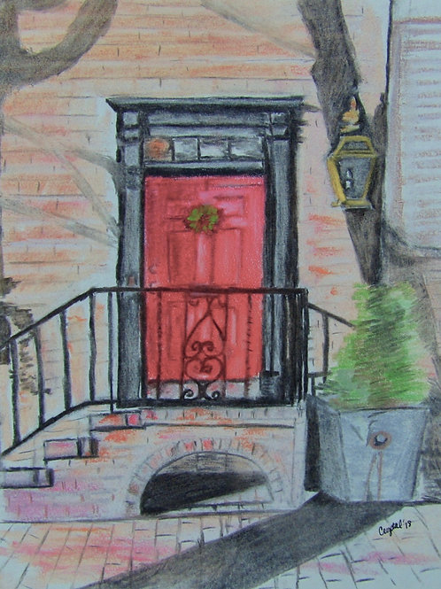 Red door, pastel