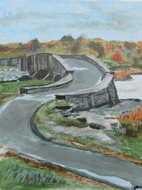 Bridge, acrylic & gouache