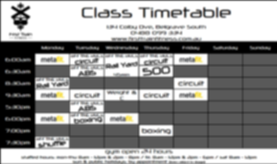 First Train Fitness Timetable