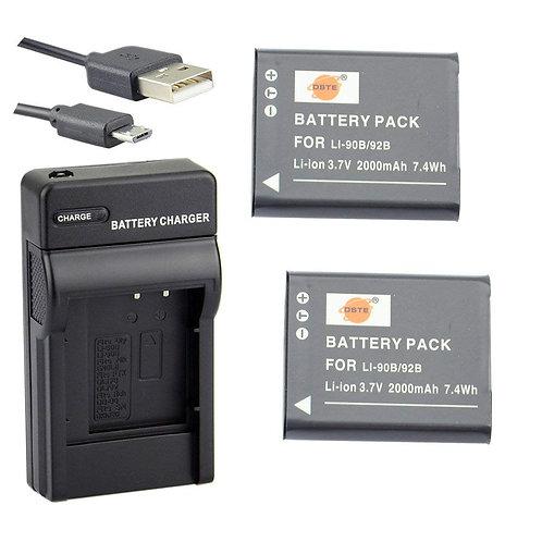 Kit Batterie per Olympus TG5 TG3 TG2 SH-1 SH-50 SH-60 SP-100 XZ-2 iHS