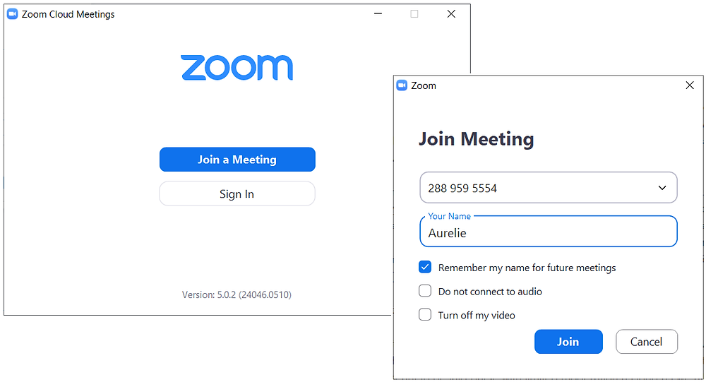 Screenshots of Zoom App