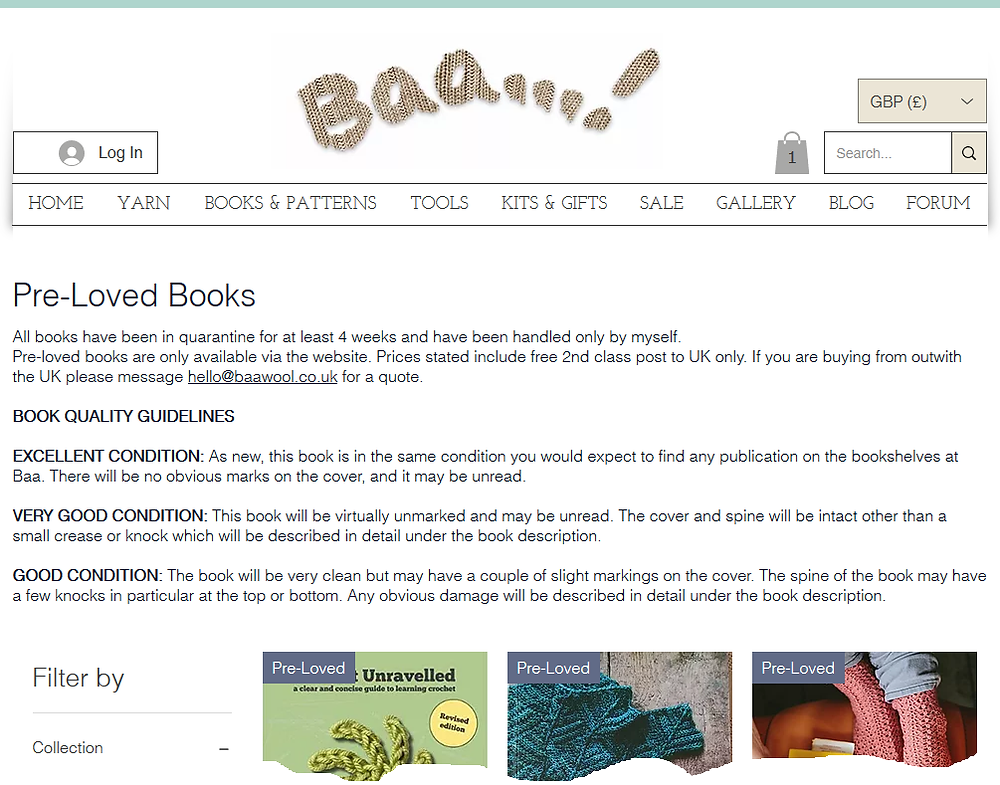 Screenshot of the landing page for the Pre-Loved books on Baa! website