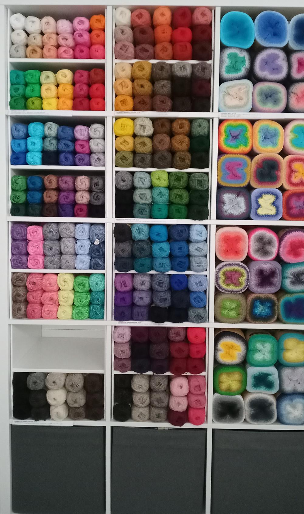 Shelves of yarn - Jamieson's of Shetland Spindrift - an array of colours at Baa!