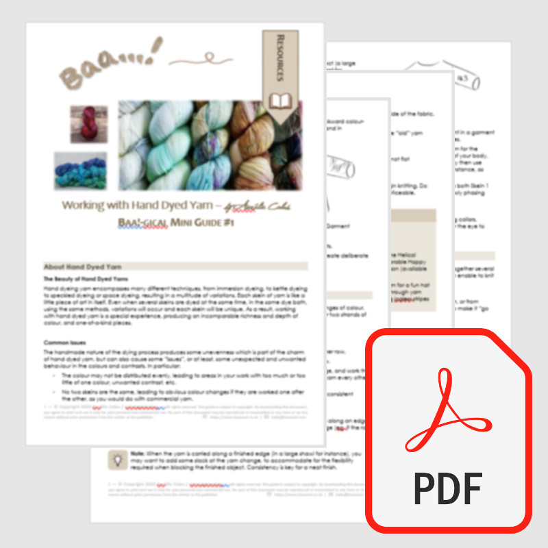 Preview of the 4 pages of the Baa!-gical Guide #1 - Working with Hand Dyed Yarn