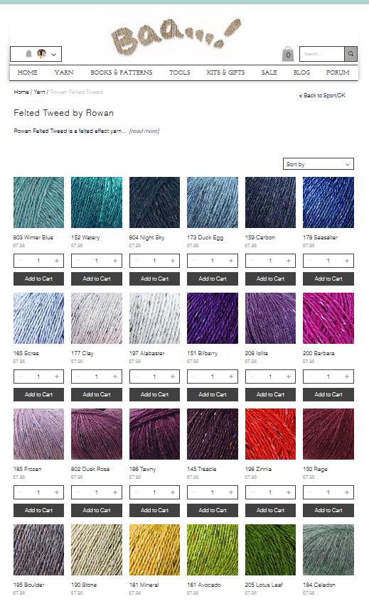Rowan Felted Tweed - All shades available at Baa!