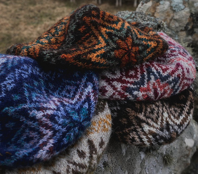 Official photo of the five original Da Crofter's Keps designed by Wilma Malcolmson - ©Shetland Wool Week