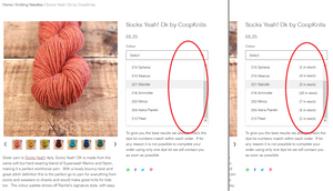 Screenshot on the left of a dropdown menu showing name of yarn colours, and on the right, desired display with corresponding stock quantity