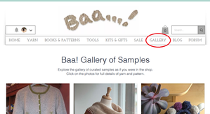 Screenshot of the Baa website as it appears when one lands on the new Gallery of Samples page, with red circle around the Gallery button in the menu bar