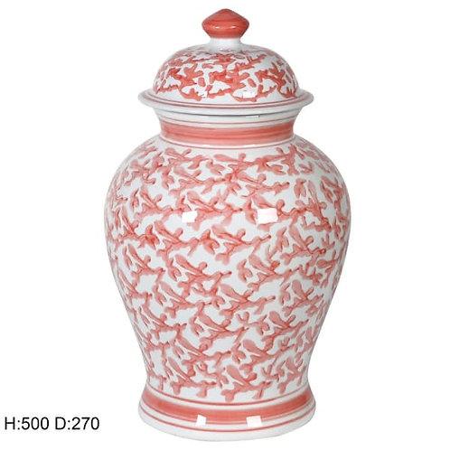 Coral Patterned Ginger Jar