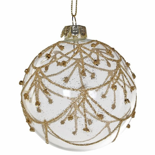 Clear Bauble W/ Gold Deco