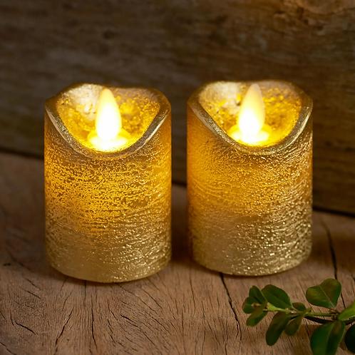 LED WAX CANDLES, Sara Mini 2pcs Set Gold