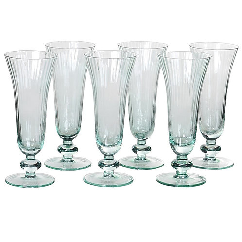 Set of 6 Mint Ribbed Glass Flutes