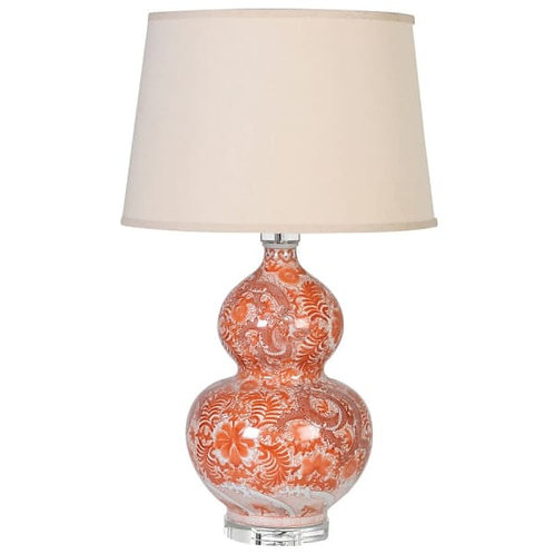 Orange Bulbous Patterned Lamp