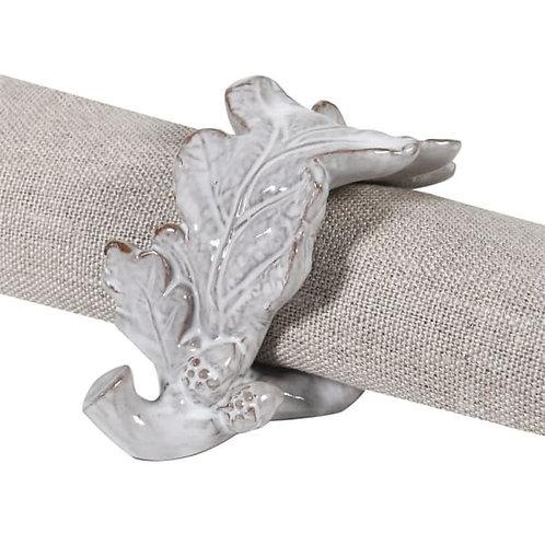 Set of 4 Grey Oak Leaf Napkin Rings