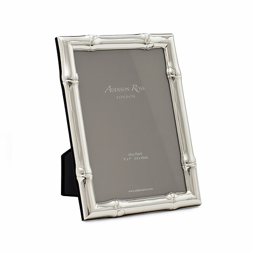 WIDE BAMBOO SILVER PLATED PHOTO FRAME