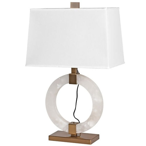 Large Crystal Table Lamp with Linen Shade