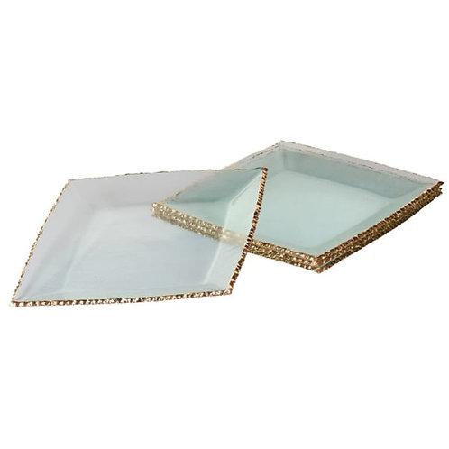 Square Gold Rim Glass Plate