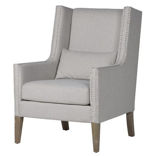 Striped Silver Studded Club Chair