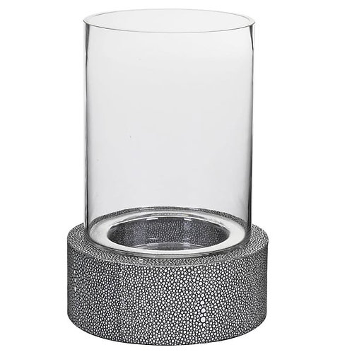 Faux Shagreen Leather and Glass Hurricane