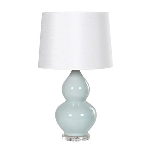 Porcelain Hourglass Lamp and Crystal Base with Shade