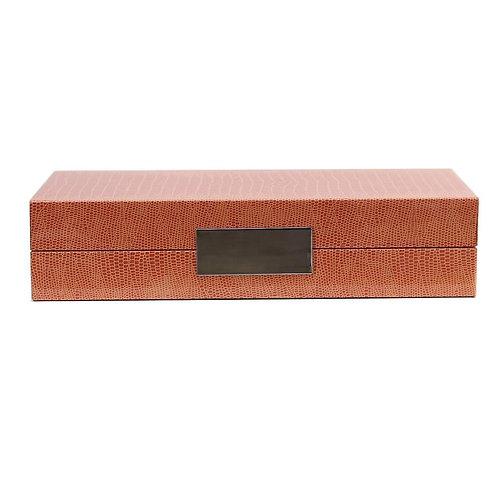 ORANGE CROC BOX WITH SILVER