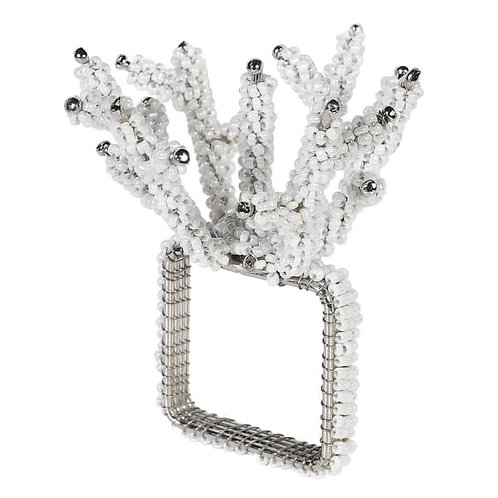 Set of 4 Silver Coral Napkin Rings