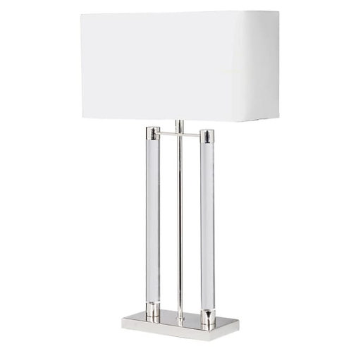 Nickel and Acrylic Bar Lamp with White Shade