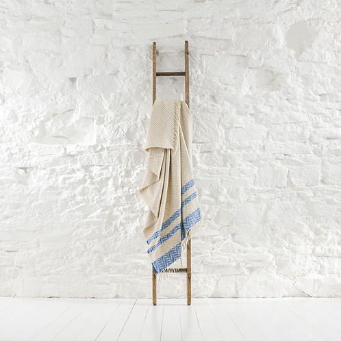 Ian Mankin Hayle Stripe Fringed Throw - Oatmeal