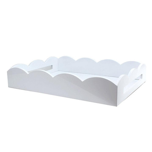 WHITE MEDIUM LACQUERED SCALLOP SERVING TRAY