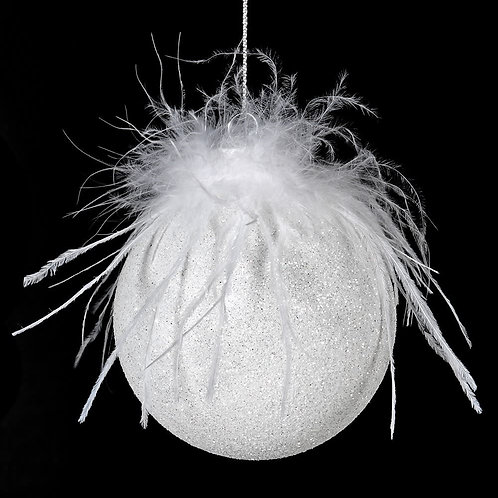 White Feather Top Bauble