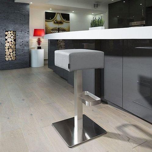 Quatropi Medium Grey Kitchen Breakfast Bar Stool /Seat Brushed Stainless