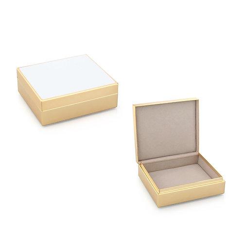 WHITE ENAMEL & GOLD BOX