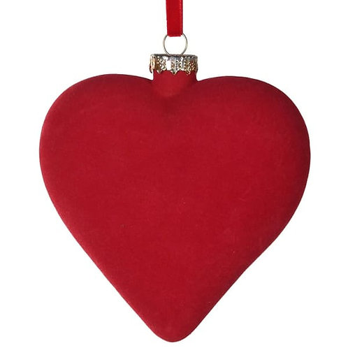 Red Flocked Heart Bauble