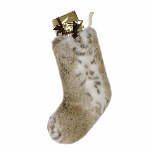Small Lynx Luxury Faux Fur Christmas Stocking