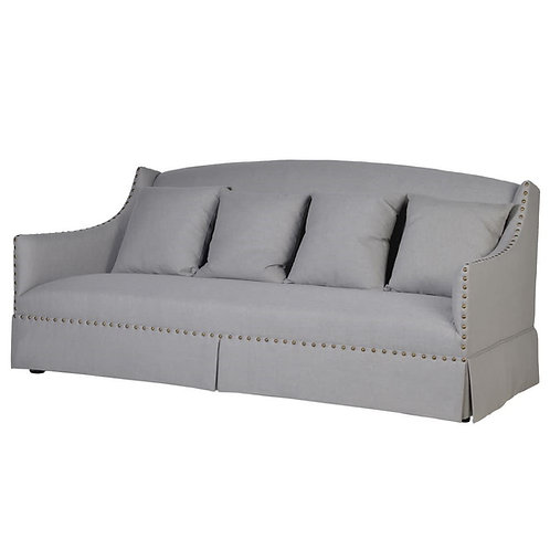 Froste Light Grey 3 Seater Sofa with Studs