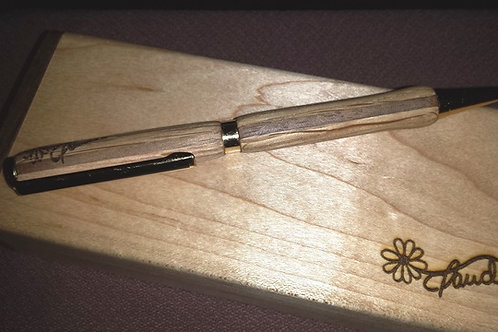 Stylo - Frêne - Noyer - 24 carats.