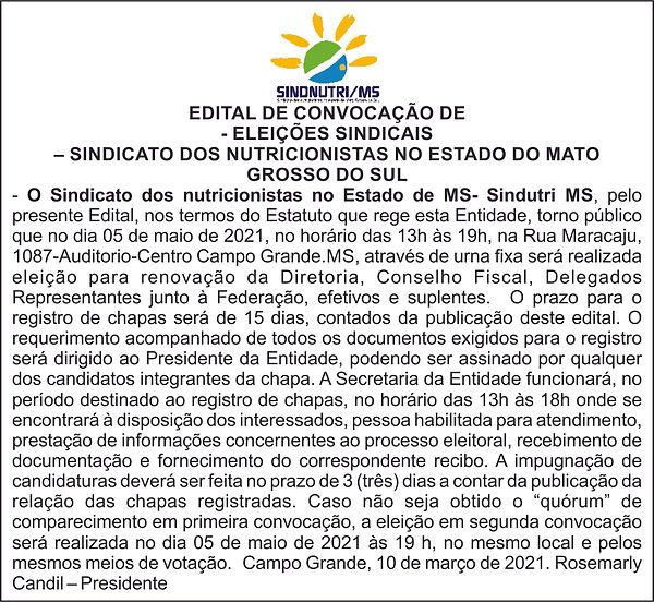 EDITAL DE CONVOCAÇÃO DE ELEIÇÕES SINDICA