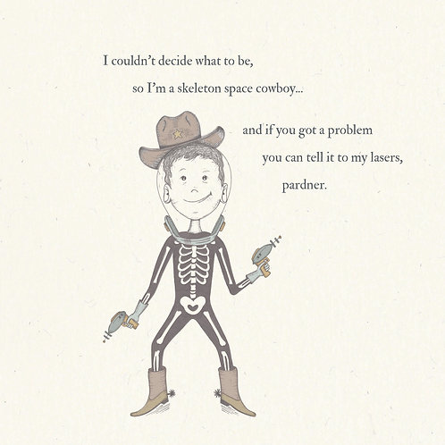 Skeleton Space Cowboy Greetings Card