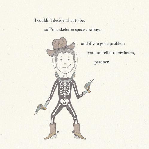 Skeleton Space Cowboy Greetings Card