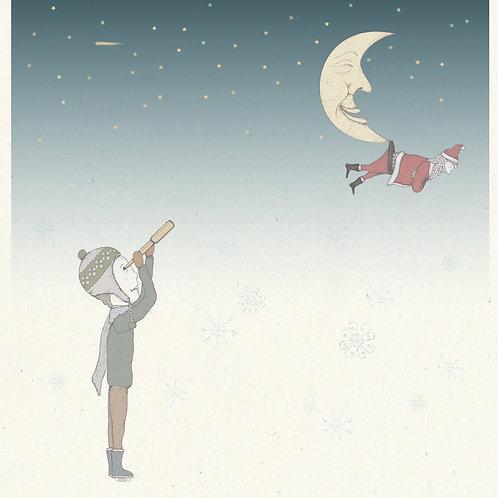 Santa & The Moon Greetings Card