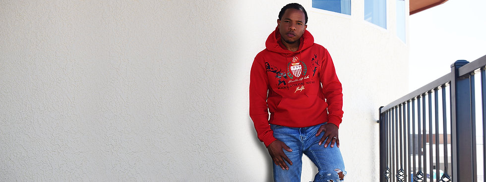 Red pullover hoodie culture collection Franklin Michelle