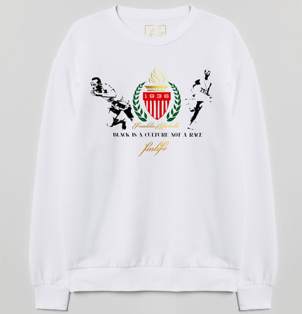 White sweatshirt with Franklin Michelle Culture Collection logo