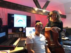 with Nikki recording cello