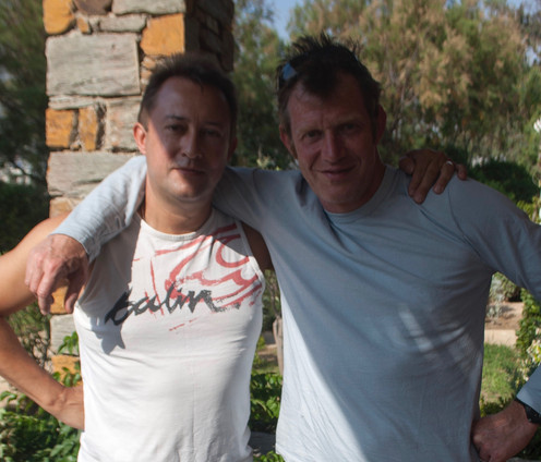 with Jason Flemyng during filming of The Journey