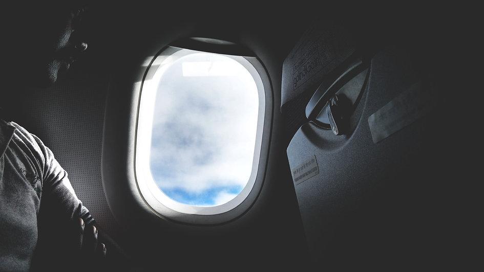 Photo du hublot d'un avion