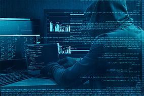 Internet crime concept. Hacker working o