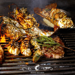 Steaks and delicious seafood
